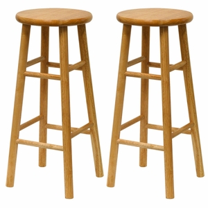 """Winsome Wood Marvelous Set of 2 Assembled 30"""" Stool with Beveled Seat"""