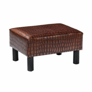 Marvelous Wooden Alligator Print Foot Stool by Southern Enterprises