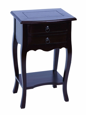 Master Craft Wooden Accent Side Table in Dark Ebony Brown Finish Brand Woodland