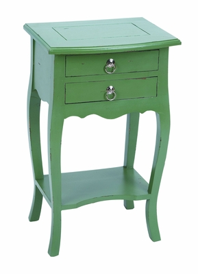 Master Craft Wooden Accent SideTable with Classic Green  Design Brand Woodland