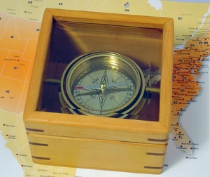 Master Gimbaled Compass In Glass Lid Box Nautical Brand IOTC