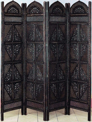 Master Piece 4 Panel Room Divider Carved with Wood Screen Brand Woodland