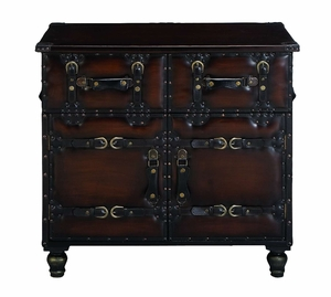 Masterpiece Antiqued Leather Hall Side Chest Cabinet Brand Woodland
