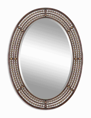 Matney Distressed Mirror with Hand Forged Oil Rubbed Bronze Brand Uttermost