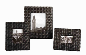 Maulana Black Photo Frame Set With Woven Faux Leather Straps Brand Uttermost