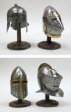 Medieval Miniature Helmet Set of Four on Wooden Stand Assorted by IOTC