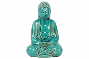 Meditating Ceramic Buddha in Stunning Turquoise by Urban Trends Collection
