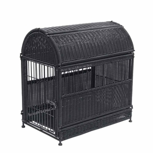 Medium Black Wicker Dog House with Round Top and Steel Frame Brand Zest