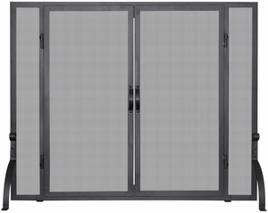 MediumSingle Panel Black Wrought Iron Screen W/ Doors by Blue Rhino