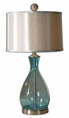 Meena Blue Glass Table Lamp with Nickel Metal Detail Brand Uttermost