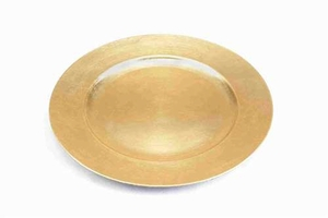 Melamine Lacquered Leaf Charger Plates in Gold Finish - Set of 24 Brand Woodland