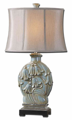 Melezzo Light Blue Table Lamp with Leaf Detailing Brand Uttermost