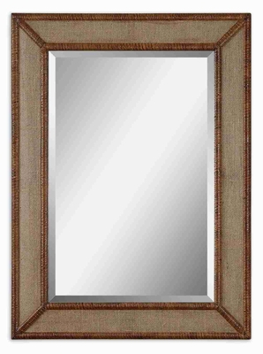 Mena Wall Mirror with Burlap and Bamboo Edged Frame Brand Uttermost