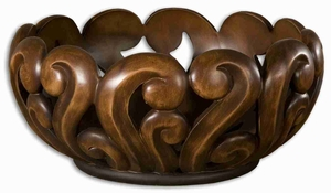 Merida Style Warm Wood Bowl With Unique Open Design Brand Uttermost