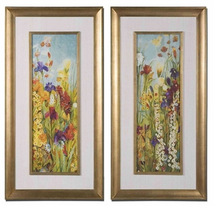 Merriment Wood Art with Gold Leaf Frames - Set of 2 Brand Uttermost