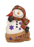 """Merry Christmas Polystone Snowman w/ Led 13""""W, 18""""H by Woodland Import"""