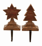 """Merry Christmas Polystone Stocking Holder Set of 2 Assorted 11""""H, 5""""W by Woodland Import"""