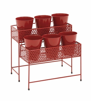 Mesmerizing Artistic Styled Metal 2 Tier Plant Stand Red by Woodland Import