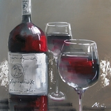 Mesmerizing Masterpiece of Wine and Two Glasses I by Yosemite Home Decor