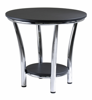 Mesmerizing Maya Black Top Fashionable Round End Table by Winsome Woods