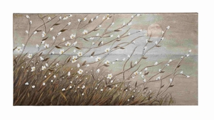 White Floral Themed Elegant Canvas Wall Art - 92711 by Benzara