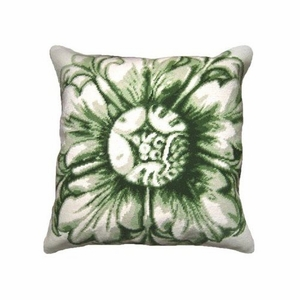 Mesmerizing Patterned Rosette-Green Needlepoint Pillow by 123 Creations