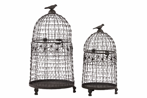 Mesmerizing Set of Two Floral Designed Metal Bird Cage