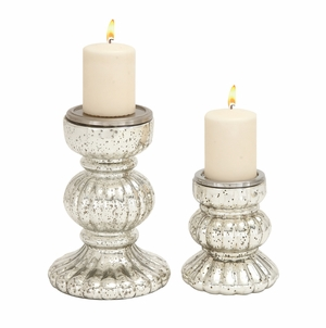 Mesmerizing Styled Glass Candle Holder - 28882 by Benzara