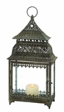 Mesmerizingly Styled Benxi Metal Glass Lantern by Woodland Import