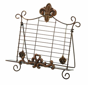 """Metal 13"""" Book Holder Crafted with Delicate Intriacte Detailing Brand Woodland"""