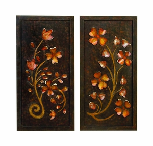 Metal 2 Assorted Wall Decor with Beautiful Floral Design Brand Woodland