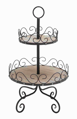 Metal 2 Tier Tray Styled with Attractive Scroll Accents Brand Woodland