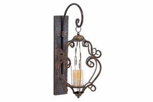 """Metal 25"""" Glass Lantern Crafted with Inricate Detailing Brand Woodland"""