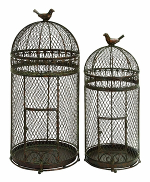 "Metal 30"" Bird Cage Crafted with Neted Pattern - Set of 2 Brand Woodland"