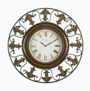 """Metal 38"""" Wall Clock with Rustic Look and Roman Numerals Brand Woodland"""