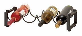Metal 4 Bottle Wine Rack in Brown Finish with Minimal Design Brand Woodland