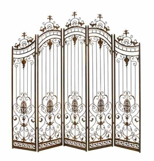 Metal 5 Panel Screen with Artistic Detailing in Gold Finish Brand Woodland