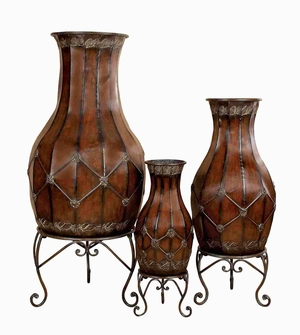 "Metal 52"" Vase with Stand in Polished Finish - Set of 3 Brand Woodland"