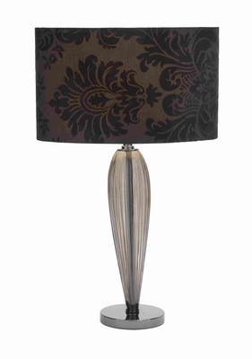 "Metal and Glass 25"" Table Lamp in Black Shade with Classic Design Brand Woodland"