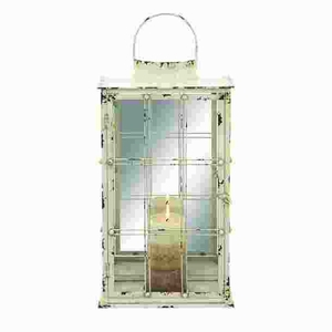 Metal and Glass Lantern with Candles in Vintage Design Brand Woodland