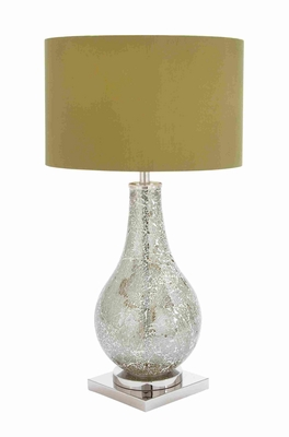Metal and Glass Table Lamp with Hint of Antiquity and Class Brand Woodland