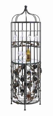 "Metal and Glass Wine 21"" Cabinet with Sturdy Construction Brand Woodland"