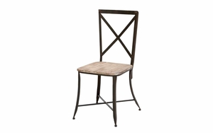 Metal And Wood Chair For With Rectangular Reclaim Wood Seat Brand Woodland