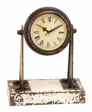 Metal And Wood Clock With Multipurpose Shelf Brand Woodland