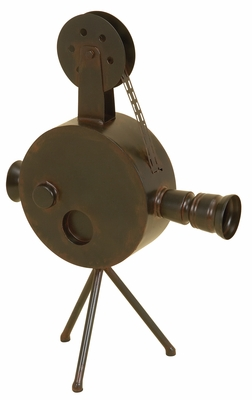 Metal Antiqued Camera in Copper Finish with Mounted on Tripod Brand Woodland