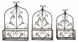 Metal Arches Floral Pattern Wall Planter in Rustic - Set of 3 Brand Woodland