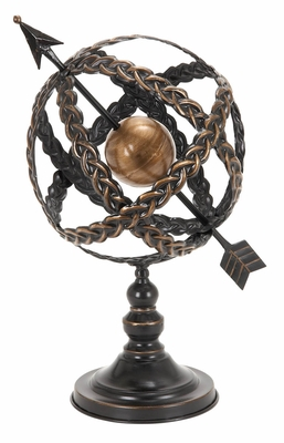 Metal Armillary Stand in Dark Brown Finish with Elegant Design Brand Woodland