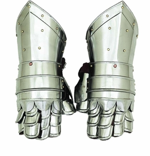 Metal Armor Hand Gloves with Intricate Work and Silver Coating Brand Woodland