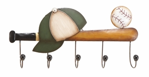 Metal Baseball Wall Hook in Multi Color with Modern Design Brand Woodland
