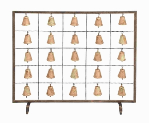 Metal Bell Fireplace Screen Assemble Design with Multiple Bells Brand Woodland
